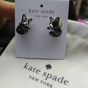 Kate Spade Black Enamel Puppy Earrings